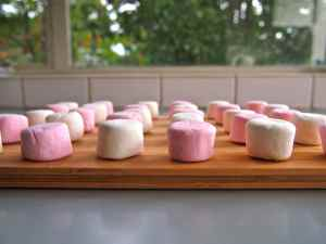 Step 1: Lay marshmallows out on flat transferable surface.
